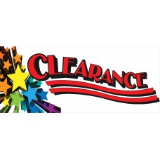 Clearance Stars 2.5' x 6' Vinyl Business Banner