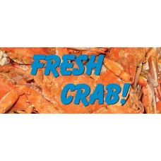 Fresh Crab Gold 2.5' x 6' Vinyl Business Banner
