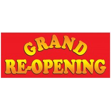 Grand Re-opening Red 2.5' x 6' Vinyl Business Banner