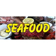 Seafood Lobster Shrimp 2.5' x 6' Vinyl Business Banner