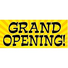 Grand Opening Yellow Fireworks 2.5' x 6' Vinyl Business Banner