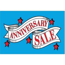 Anniversary Sale Red Stars 2' x 3' Vinyl Business Banner