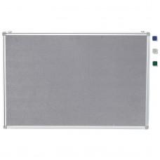 """24""""x 36"""" Aluminum Framed Gray Fabric Pin Board"""