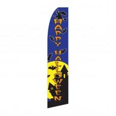 Happy Halloween Witch/Bats Swooper Flag