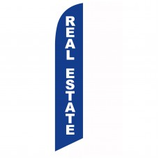 Real Estate Blue White Windless Swooper Flag