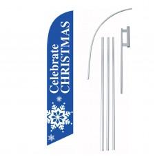 Celebrate Christmas Snowflake Windless Swooper Flag Bundle