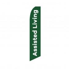 Assisted Living Green White Swooper Flag