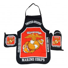 United States Marines Black Apron & Oven Mitt Set