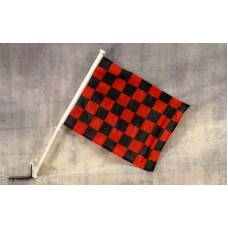 Checkered Red and Black Car Window Flag