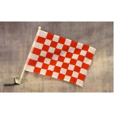 Checkered Red and White Car Window Flag