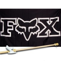 FOX MOTO 3' x 5'  Flag, Pole And Mount.
