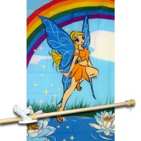 FAIRY WITH RAINBOW 3' x 5'  Flag, Pole And Mount.