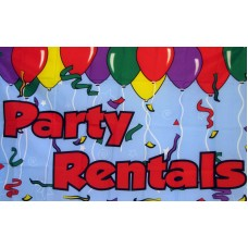 Party Rentals 3'x 5' Advertising Flag