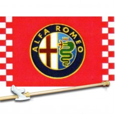 ALFA ROMEO CHECKERED 3' x 5'  Flag, Pole And Mount.