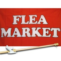 FLEA MARKET RD/WH 3' x 5'  Flag, Pole And Mount.