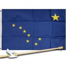 ALASKA STATE 2' X 3'  Flag, Pole And Mount.
