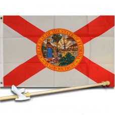 FLORIDA STATE 2' X 3'  Flag, Pole And Mount.
