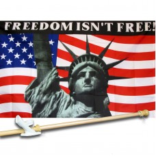FREEDOM ISN'T  FREE 3' x 5'  Flag, Pole And Mount.