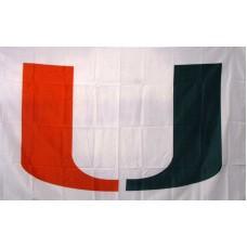 Miami Hurricanes White 3'x 5' College Flag