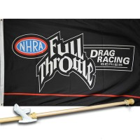 FULL THROTTLE NHRA 3' x 5'  Flag, Pole And Mount.