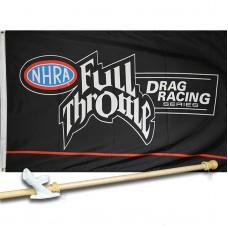 FULL THROTTLE NHRA 3' x 5'  Flag, Pole And Mount.