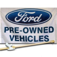 FORD PRE-OWNED VEHICLES  2 1/2' X 3 1/2'   Flag, Pole And Mount.
