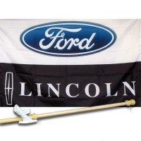 FORD LINCOLN  2 1/2' X 3 1/2'   Flag, Pole And Mount.