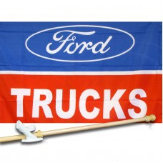 FORD TRUCKS  2 1/2' X 3 1/2'   Flag, Pole And Mount.