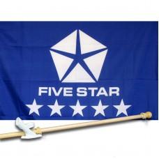 FIVESTAR  2 1/2' X 3 1/2'   Flag, Pole And Mount.