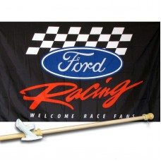 FORD RACING 3' x 5'  Flag, Pole And Mount.