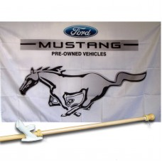 FORD MUSTANG 3' x 5'  Flag, Pole And Mount.