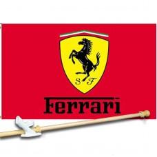 FERRARI  3' x 5'  Flag, Pole And Mount.