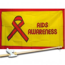 AIDS AWARENESS 3' x 5'  Flag, Pole And Mount.