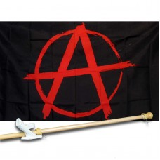ANARCHY 3' x 5'  Flag, Pole And Mount.