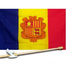 ANDORRA COUNTRY 3' x 5'  Flag, Pole And Mount.