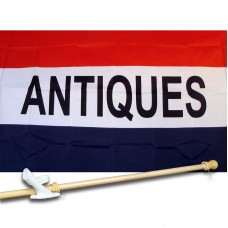 ANTIQUE 3' x 5'  Flag, Pole And Mount.