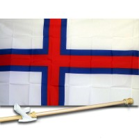 FAROE ISLANDS COUNTRY 3' x 5'  Flag, Pole And Mount.