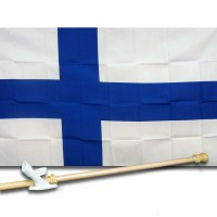 FINLAND COUNTRY 3' x 5'  Flag, Pole And Mount.