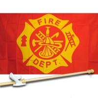 FIRE  FIGHTERS 3' x 5'  Flag, Pole And Mount.
