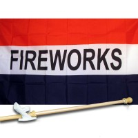 FIREWORKS 3' x 5'  Flag, Pole And Mount.