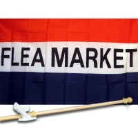 FLEA MARKET 3' x 5'  Flag, Pole And Mount.
