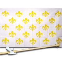 FLEUR DE LIS WHITE MULTIPLE 3' x 5'  Flag, Pole And Mount.