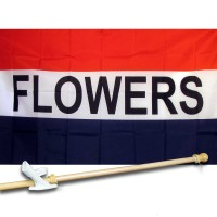 FLOWERS 3' x 5'  Flag, Pole And Mount.