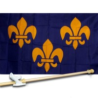 FRANCE  FLEUR DE LIS 3' x 5'  Flag, Pole And Mount.