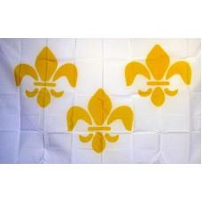 Fleur de Lis 3 White 3'x 5' Historical Flag