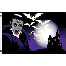 VAMPIRE CASTLE AND BATS BLK/PURPLE POLY 3' X 5' FLAG