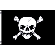 JOLLY ROGERS CROSSED BONE BIG SKULL POLY 3' X 5' FLAG