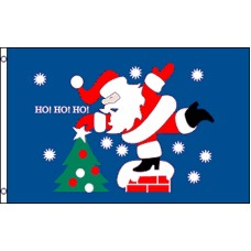 SANTA HO HO HO W/TREE  POLY 3' X 5' FLAG