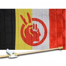AMERICAN INDIAN 3' x 5'  Flag, Pole And Mount.