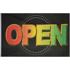 Open Neon Black Background Polyester 3' x 5' Flag
